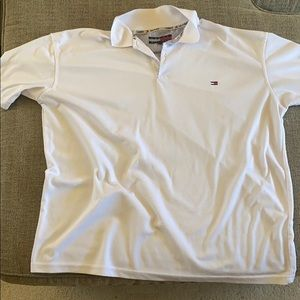 White collared Tommy Hilfiger golf shirt